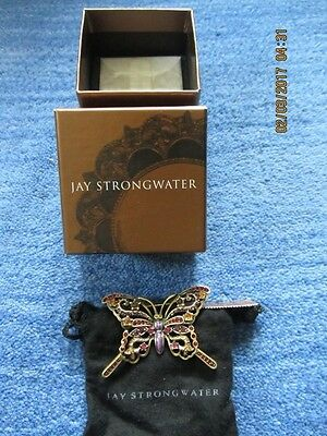 JAY STRONGWATER Jeweled & Enameled Openwork BUTTERFLY Pin  Brooch NWT