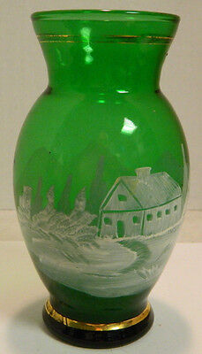 """Vintage Hand Painted Emerald Green Scenic Glass Vase 6.25"""" x 3.25 Excellent Cond"""