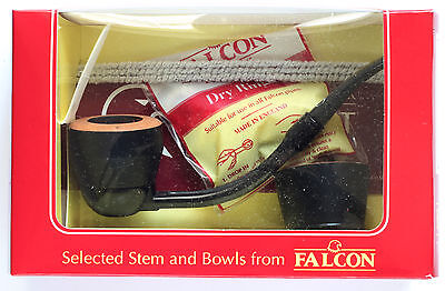 Falcon Ebony pipe set with bent stem + Extra bowl - new UNSMOKED model BY-06