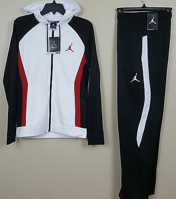Nike Jordan Dri-Fit Warm Up Suit Hoodie + Pants White Black Red Nwt (Size Small)