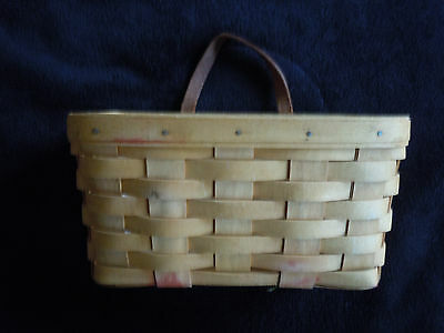 Longaberger 1996 Basket Hanging Leather Handle + Protector 9 x 5 x 5