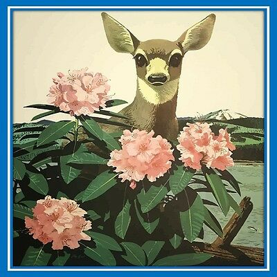 30 Custom Bashful Deer in Flowers Personalized Address Labels