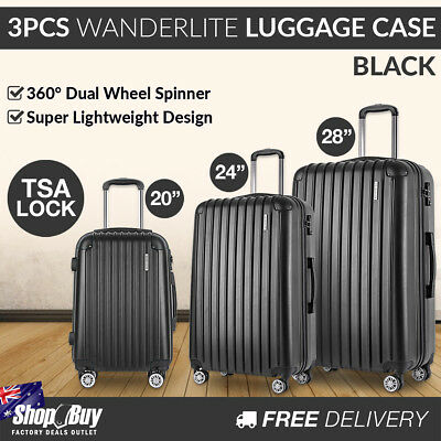 3PCS Travel Luggage Set Hard Shell Super Lightweight Suitcase TSA Lock Black