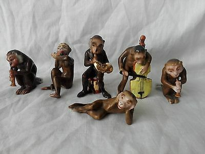Magnificent set of six Antique porcelain Monkey musicians, possible German
