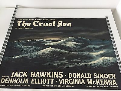 Rare Linen-Backed Style-A British Quad Movie Film Poster The Cruel Sea 1953