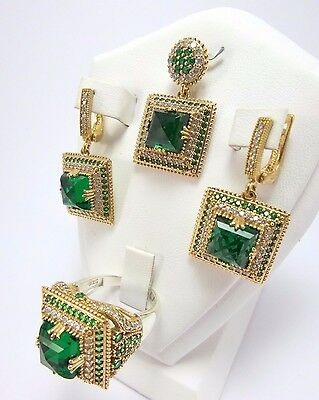 Turkish Handmade 925 Sterling Silver Emerald FULL SET -  All size available