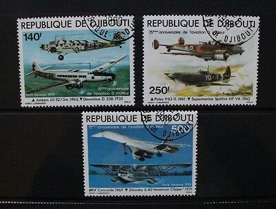 DJIBOUTI 1979 Powered Flight Aircraft Concorde. Set of 3. Fine USED/CTO. SG760/2