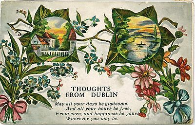 THOUGHTS FROM DUBLIN Ireland Poem Vintage Colour PC 1918