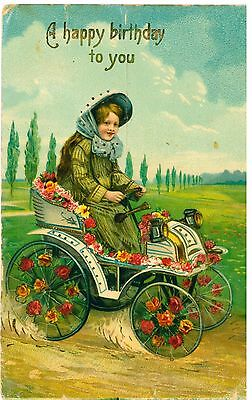 AUTOMOBILE Girl Greetings Card Flowers Vintage Colour PC 1910