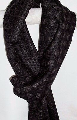 Mens Cashmere Feel Scarf Reversible Black Grey Stripes Spots Check Frayed Ends
