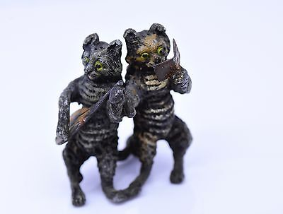 Antique Rare Louis Wain Style Cats, Cold Painted