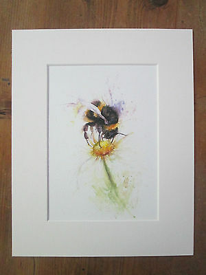 """bee with daisy , print of original painting, in 10"""" x 8"""" Mount"""