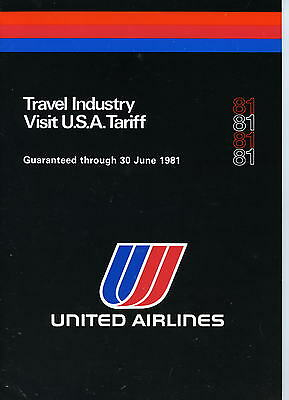 United Airlines 1981 Travel Industry Visit USA etc Pamphlet