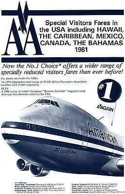 American Airlines 1981 Trade Special Fares Visit USA etc Pamplet