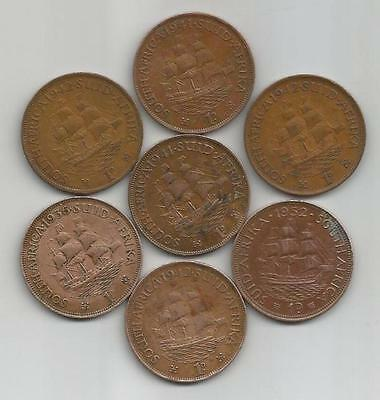 South Africa - 1 Penny - 1936 - 1941 (2) - 1943 (3) - 1952 - 7 Coins - lot