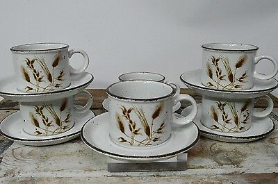 6 Vintage Midwinter Stonehenge Wild Oats Tea Coffee Cups Mugs & Saucers Set