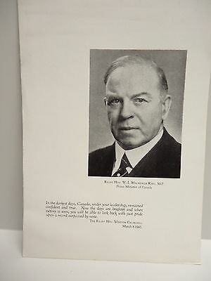 Vintage - A Tribute to Canada and Prime Minister W.L. Mackenzie King - WW ll