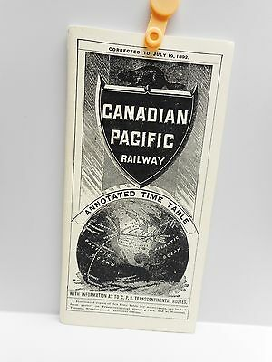 Vintage - CANADIAN PACIFIC RAILWAY - ANNOTATED TIME TABLE - 1892 - Reprint