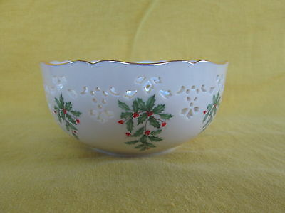 """Lenox HOLIDAY (Dimension) 6"""" Pierced Round Bowl  Holly, Berry *have more items*"""