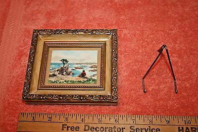 Vintage Signed Baldwin Mini Framed Water Color Painting of Shore
