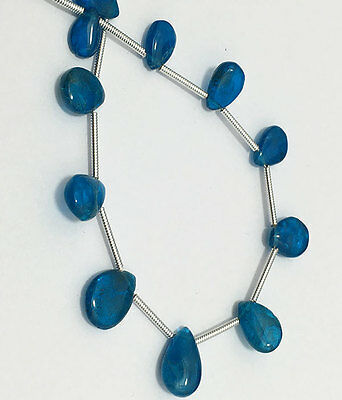 natural neon apatite pears smooth briolette beads  7to13mm 8inch 35carats strand