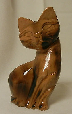 "Hand Carved Wood Siamese Kitty Cat Figure - 6"" Tall - VINTAGE"
