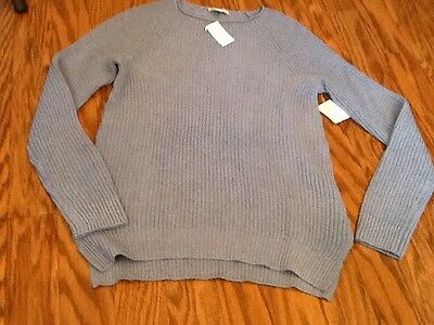 Womens Gap Maternity Ribbed Blue Cable Knit Cotton Blend Sweater NEW SizeXS