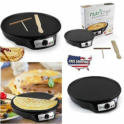 Electric Crepe Maker Pancake Griddle Machine Non-Stick Cooking Plate Breakfast