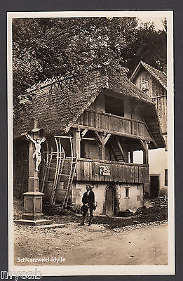 Postcard Adolf Hitler poster with Swastika on lodge at Schwarzwald Germany RP
