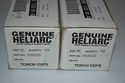 NEW 20 Genuine ESAB Heliarc 6L Gas Lens TIG Torch Cup P/N 53N26