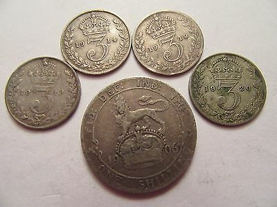 Lot of 5 Great Britain Silver Coins, 1906 Shilling + 4 3 Pence 1914,18,19,20