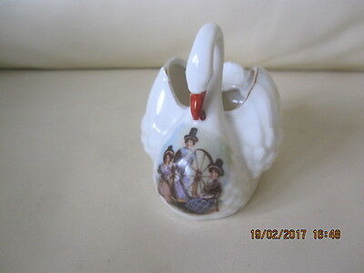 Lovely Vintage Gemma Crested China Swan With 3 Welsh Spinning Ladies Motif