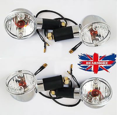 4X ROYAL ENFIELD BULLET  350 / 500cc  CHROME AMBER BULB INDICATORS TURN BLINKER