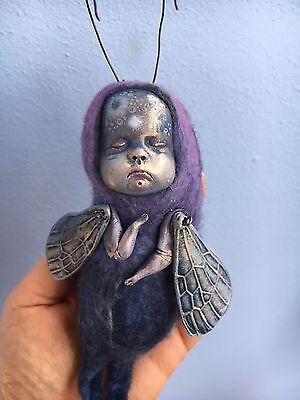 OOAK Firefly Art Sculpture Fantasy Animal Creature, BJD Blythe Doll Friend