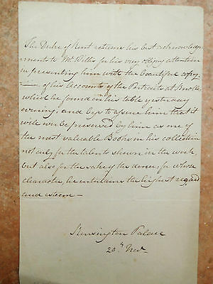 Edward Duke of Kent, father of Queen Victoria – fabulous signed letter