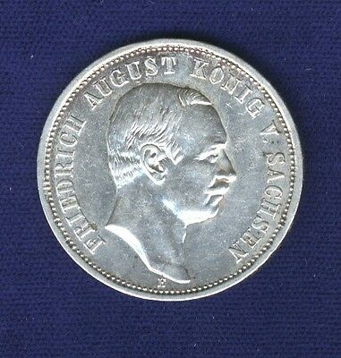 German States  Saxony 1911-E  3 Mark Silver Coin, Xf/almost Uncirculated