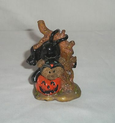 Miniature Halloween Costume BLACK CAT Teddy Bear Hanging from a Tree Figurine