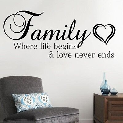 Family Where Life Begins and Love Never Ends Wall Sticker Quote Living Room UK