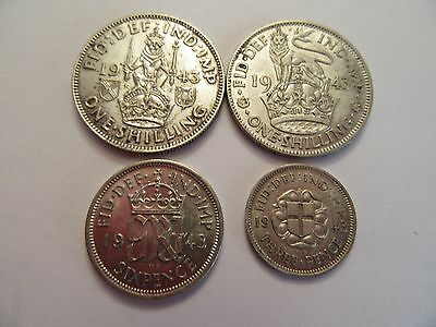 Lot of 4 1943 Great Britain Silver Coins, 2 1 shilling, 1 6 pence, 1 3 pence