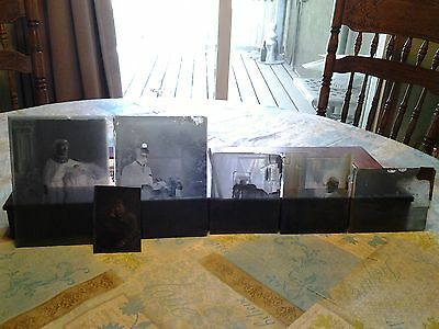 Lot Of 5 Antique Glass Plate Negatives And One Picture 2 5X7 Plates 3 4X5 Plates