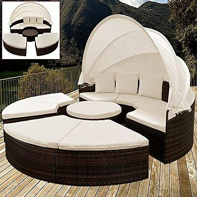 Rattan Day Bed Outdoor Patio Sunlounger Garden Sun Bed Brown With Canopy