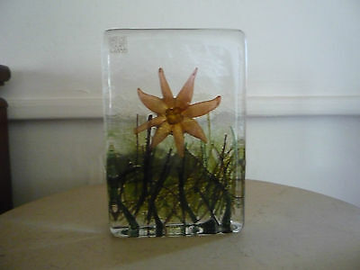 Large Isle of Wight Glass Flower Block signed