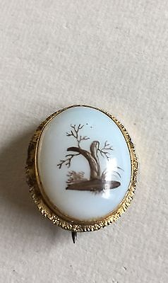 Vintage Antique Victorian Opal Glass Hand painted Pin Brooch C Clasp