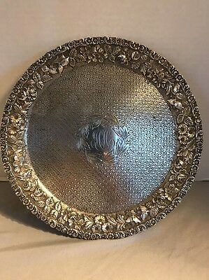 Antique Harris & Shafer Co Solid Sterling Silver Repousse Platter Tray 453G
