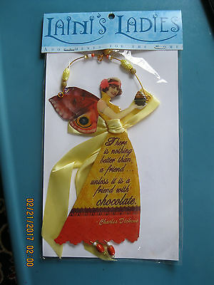 "LAINI'S LADIES-Hanging FAIRY w/Beads & Ribbon-""... friend with CHOCOLATE..."""