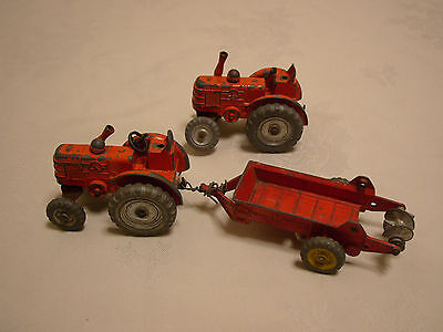 Vintage Dinky Field Marshall Tractors and Massey Harris Manure Spreader  spares