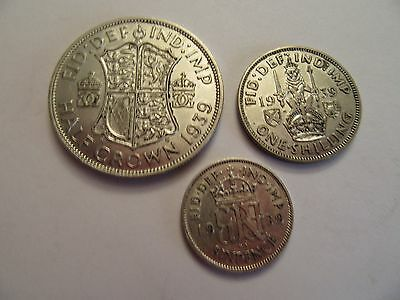 Lot of 3 1939 Great Britain Silver Coins 1 ea 1/2 crown, shilling, 6 pence