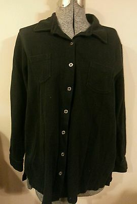 Baby And Me Maternity Black Sweater Medium M Button Front Collared Cotton