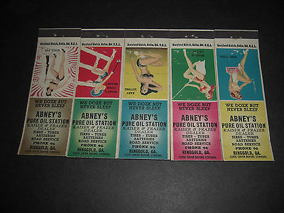 1949  Abney's PURE Service Station Matchbook Covers  Set of 5 Chicago Maids