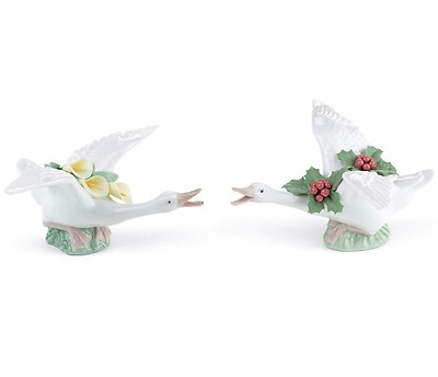 Lladro RETIRED 2 pieces 01008494 01008496 FLYING DUCK WITH LILLIES  MISTLETOE